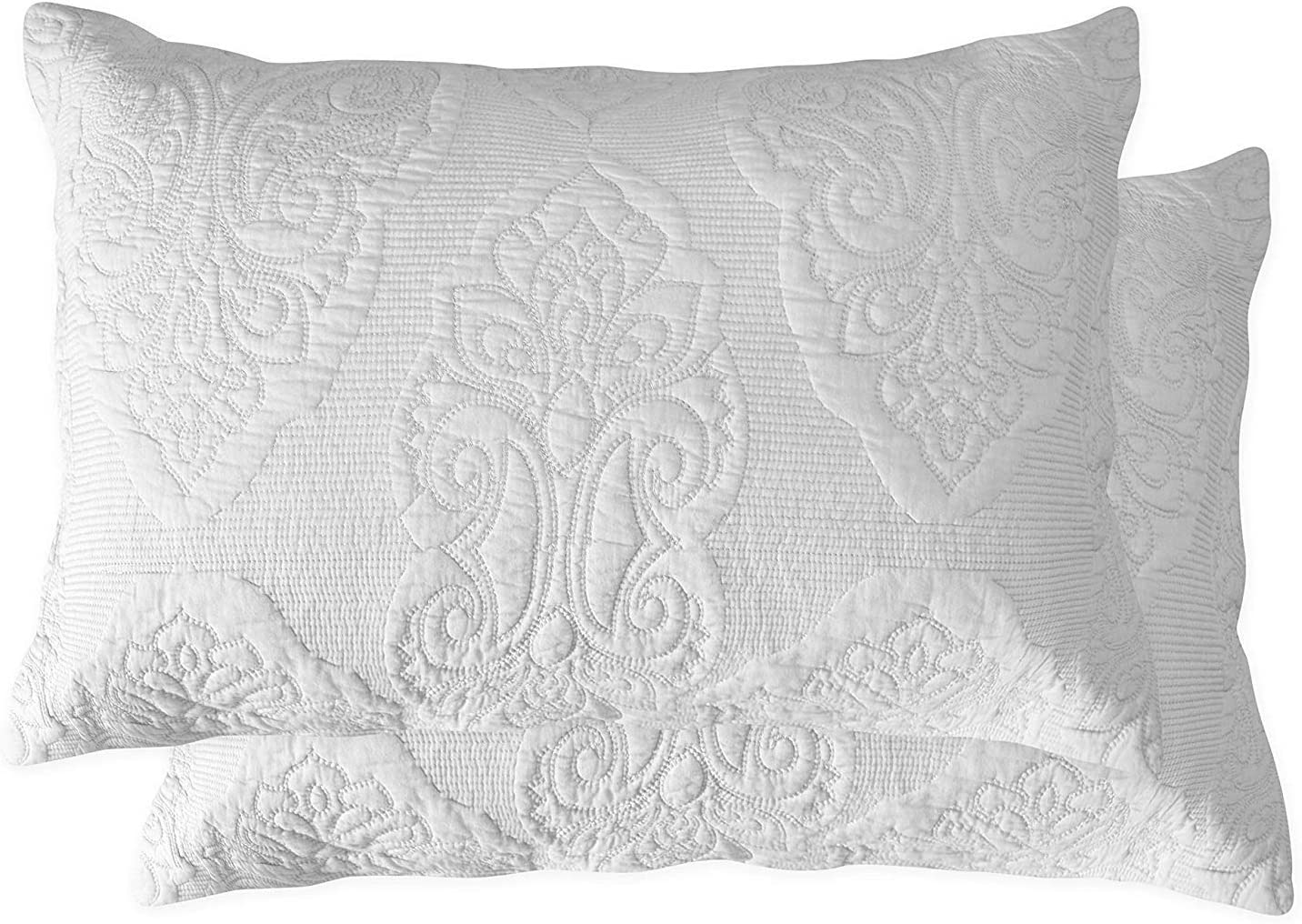Amazon Com Brandream White Paisley Quilted Pillow Shams King Size