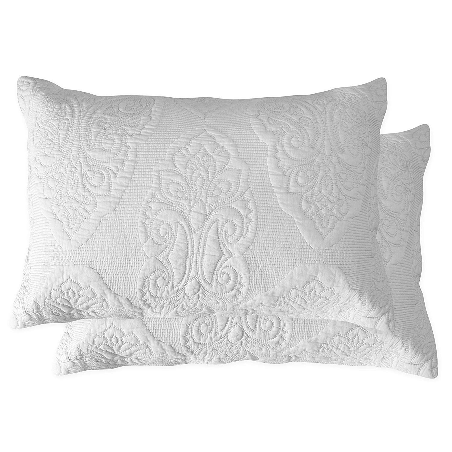 Brandream White Paisley Quilted Pillow Shams King Size Pillow Cases Set of 2 100% Cotton Soft Decorative Pillow Covers by Brandream