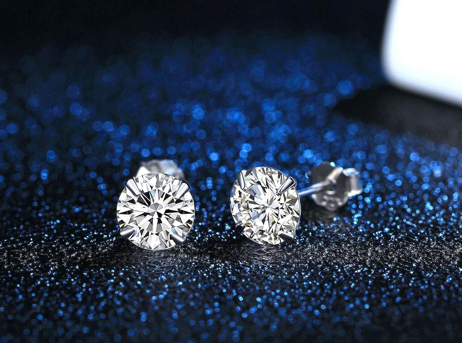 3-6 Pairs Round Clear Cubic Zirconia Stud Earrings for Sensitive Ears priercing /… Sterling Silver Studs Earrings