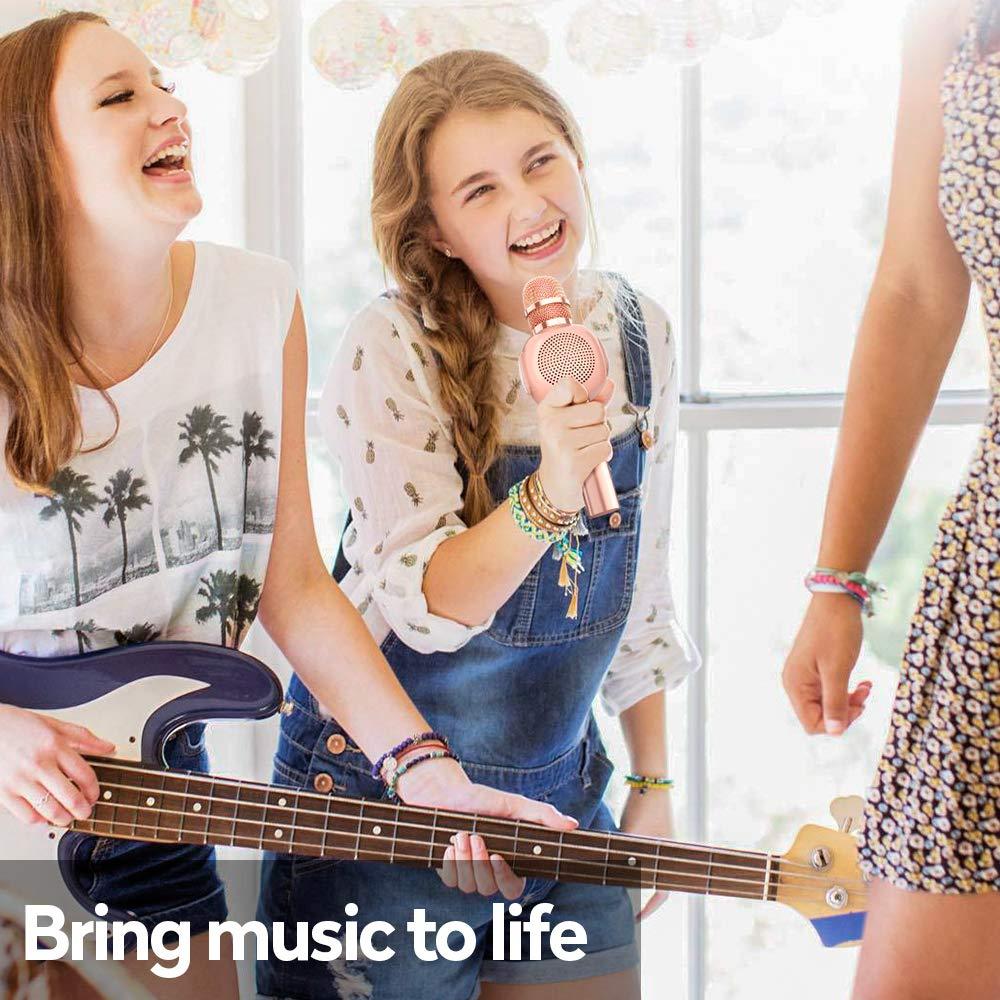 KVDUKOA Karaoke Microphone, Portable Handheld Wireless Bluetooth Karaoke Mic Machine for Home, Party, Birthday Gifts and Kids Girls Toys Age 5 6 7 8 9 (Rose Gold) by KVDUKOA (Image #7)