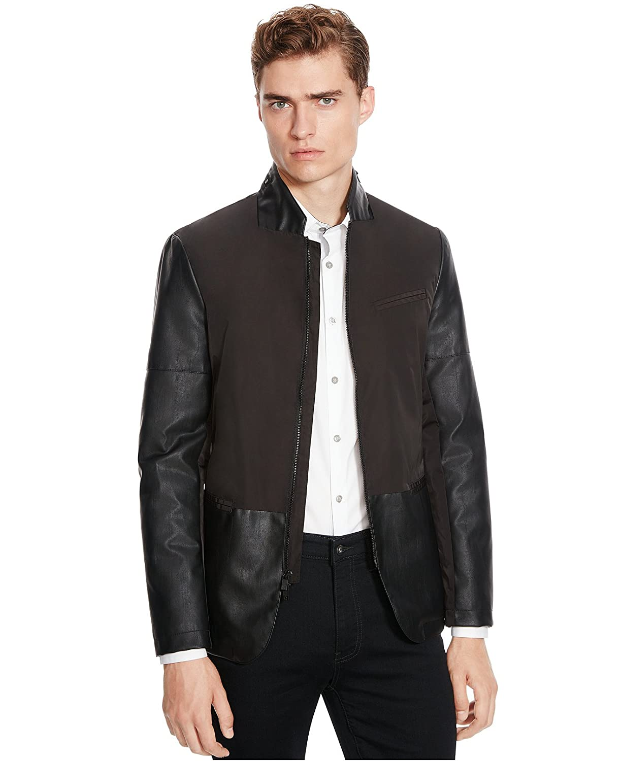afea6ee50 Kenneth Cole Reaction Mens Two-Tone Faux Leather Basic Jacket Black ...
