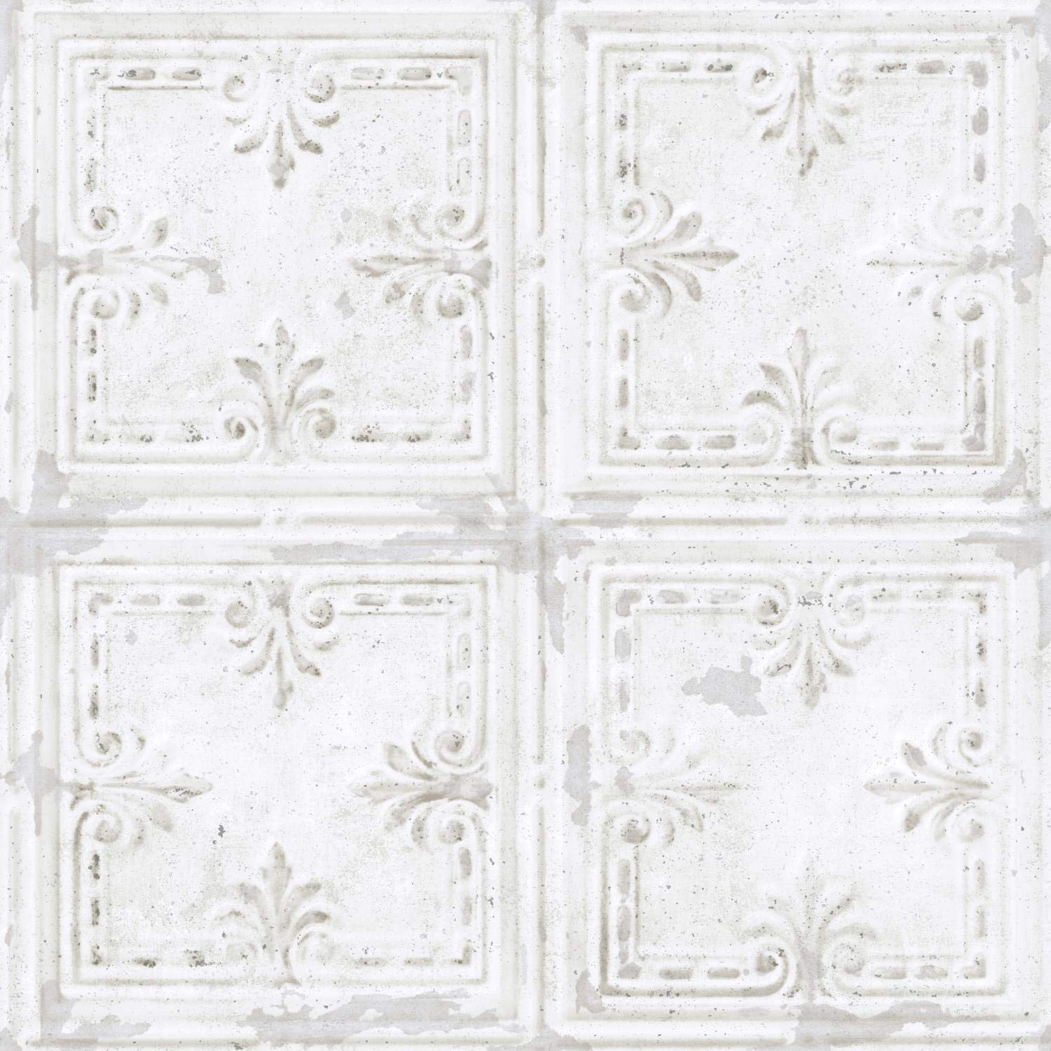 RoomMates Tin Tile White Peel and Stick Wallpaper - RMK11209WP
