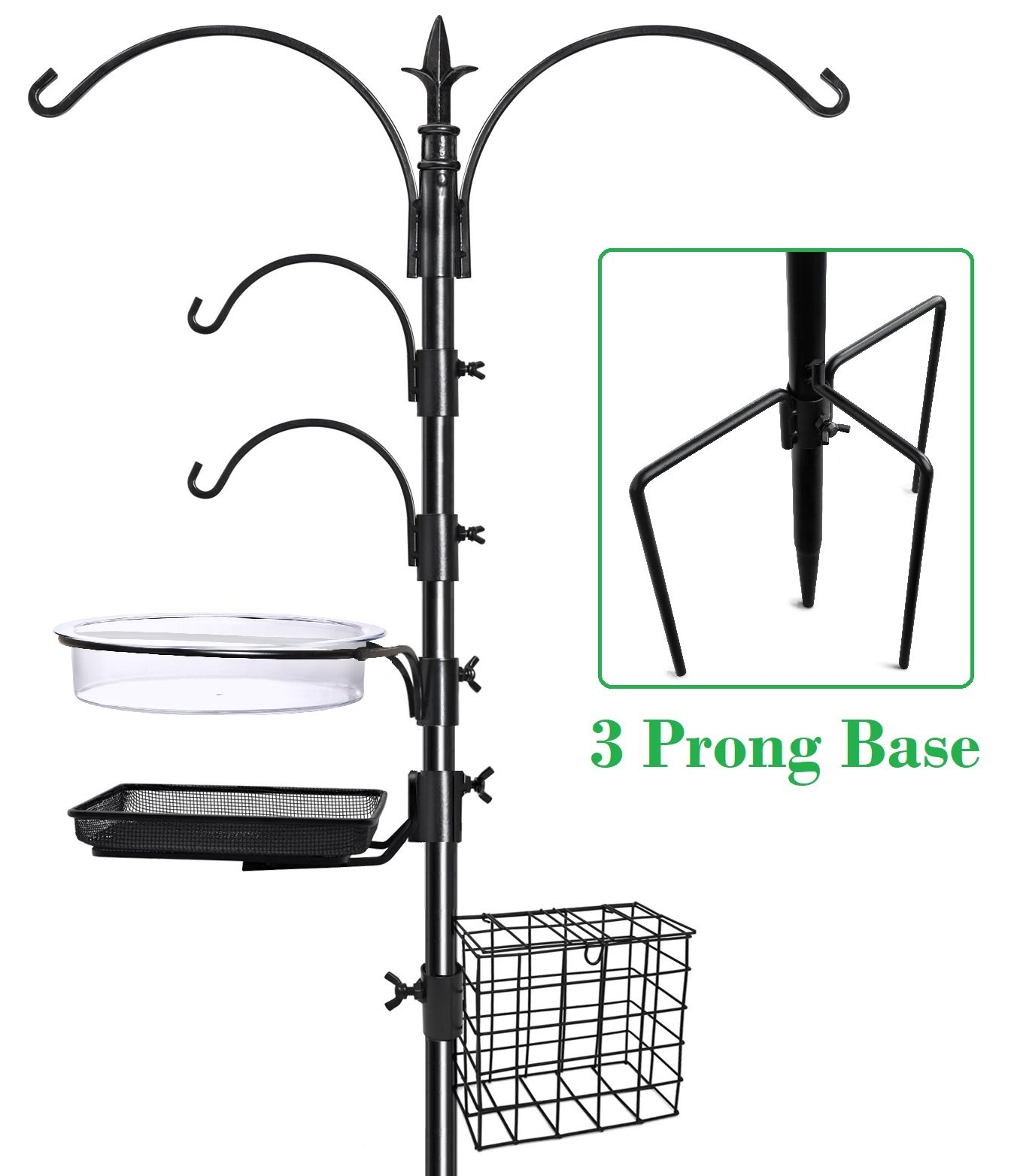 Gray Bunny GB-6844D Deluxe Premium Bird Feeding Station, 22'' Wide x 91'' Tall (82 inch above ground) Black, Multi Feeder Hanging Kit & Bird Bath For Attracting Wild Birds, Birdfeeder & Planter Hanger by Gray Bunny (Image #1)