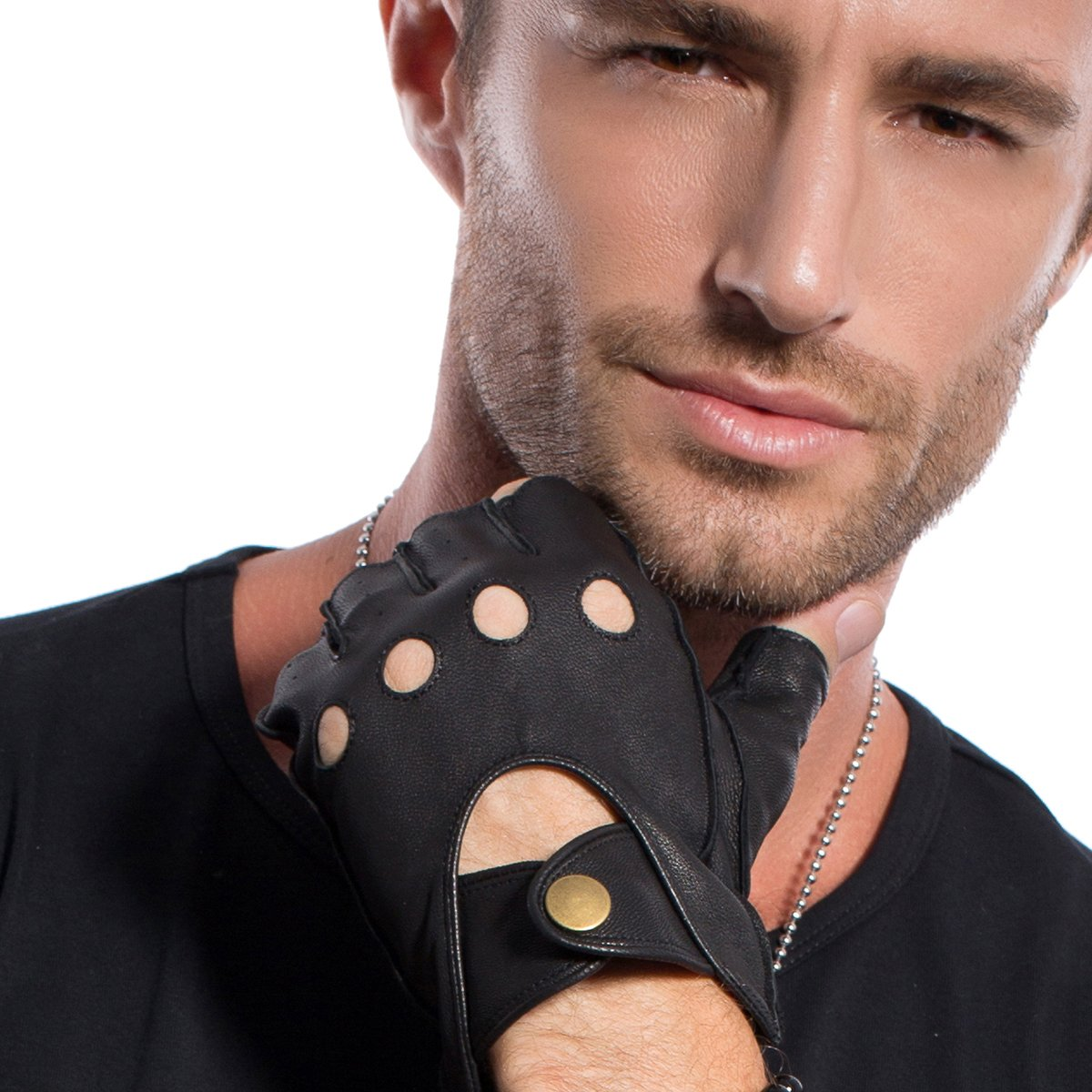 MATSU Mens Fingerless Driving Leather Black Gloves Available for Rivets DIY M1076S Matsu Gloves