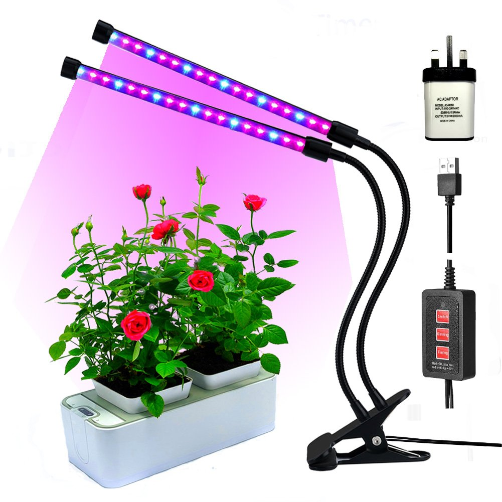Led grow lights for indoor plants,RINBO 18W Plant grow lights, 36LEDs Artificial Dual Head plant lamp, 3 Modes Timer(3H/6H/12H), Dimmable 5 Levels, 24 Red and 12 Blue ELDs, 360 Degree Adjustable Flexible Gooseneck, for office/house/Gardening/Hydroponic/Aq