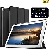Taslar Magnetic Flip Stand Cover Case for Lenovo Tab4 10 Plus Tablet (Black)