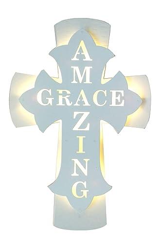 Ava s Homedecor Amazing Grace Cross-Lighted Cross for Wall-Religious Cross for Wall Decor-Wooden Cross-Crosses Wall Decor-Light up Crosses 14 inch