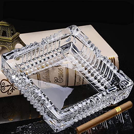 Amazon Com Square Glass Ashtray For Cigars Cigarettes 7 Large Ash Tray For Men Outdoor Use Smoking Ash Holder For Smoker Patio Office Tabletop Home Decoration Health Personal Care