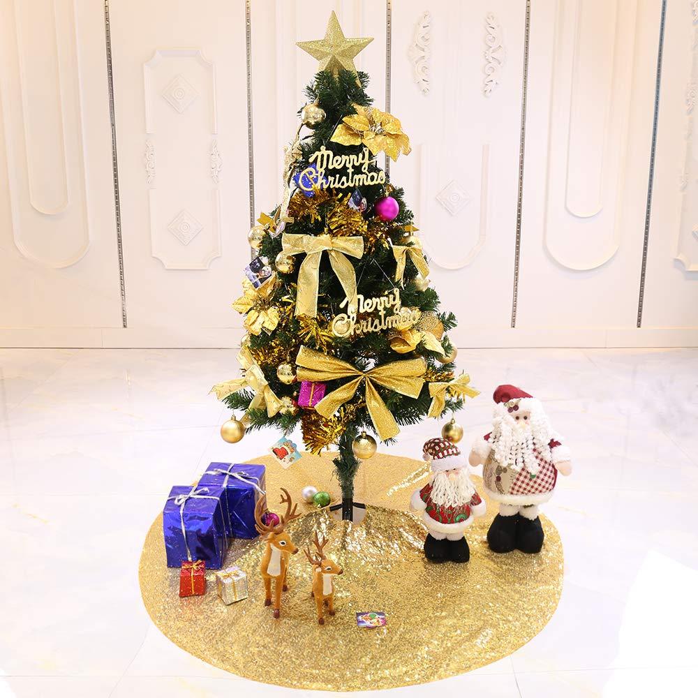 TRLYC 24-Inch Round Decorative Gold Sequin Mini Christmas Tree Skirt