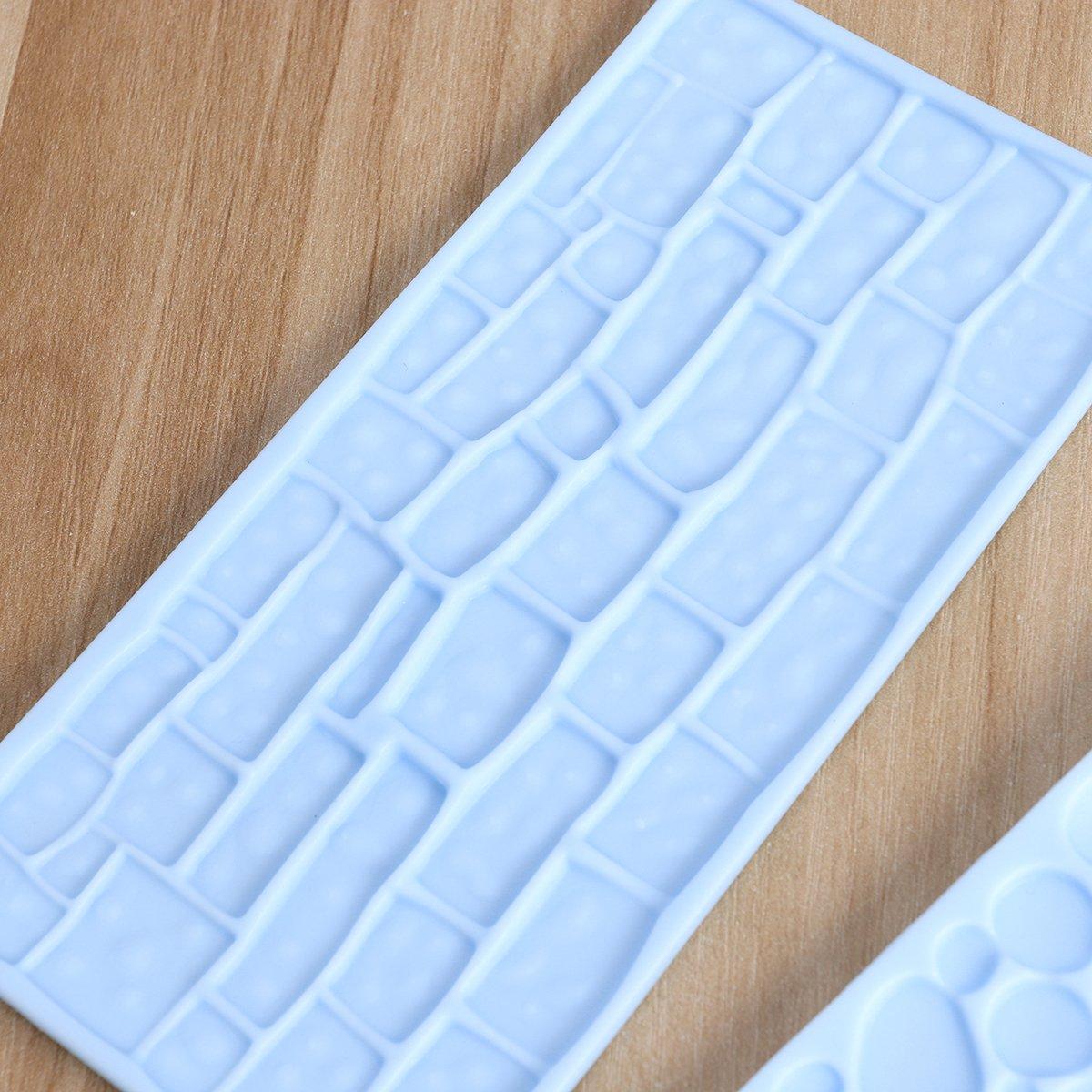 BESTONZON 2 unids en relieve de silicona molde de pastel de ladrillo patr/ón de pared tortas diy que adorna el molde