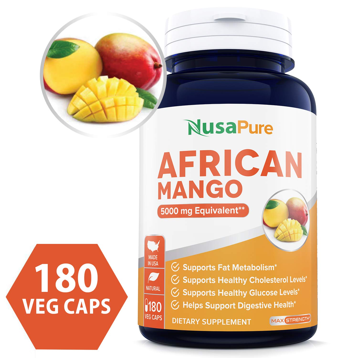 African Mango Cleanse 5000MG per Veggie Caps 180 Capsules (Non-GMO & Gluten Free) Extra Strong Pure Fat Burner, Fast Weight Loss Diet Pills, Detox Drops Slim Prime by NusaPure