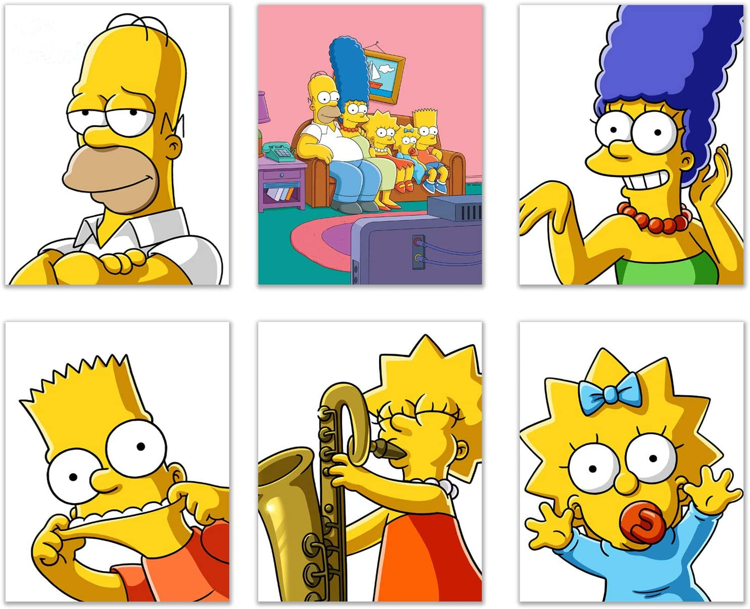 Simpsons Poster Prints - Set of 6 (8 inches x 10 inches) Movie Poster Prints - Bart Homer Marge Lisa Maggie