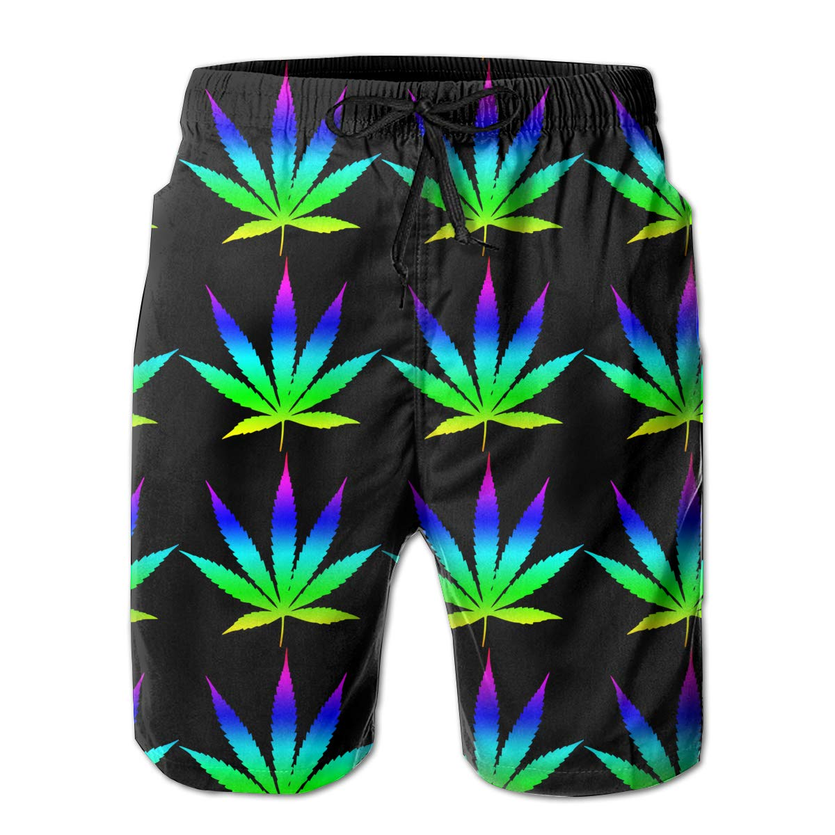 Surfing Weed Leaf Mens Classic Fit Board//Beach Shorts Flower Swimming Shorts Best for Vacation Rungning Swimming Walking
