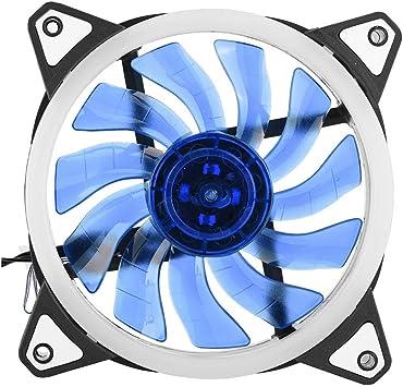 Topiky Ventilador de enfriamiento de la CPU, 12cm 120mm Ultra silencioso 3pin 4pin PC CPU Caso Enfriador Ventilador de enfriamiento 2 Anillos de LED(Azul): Amazon.es: Electrónica