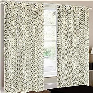 CHD Home Textiles Camisiea Curtain Panel, Ivory/Taupe