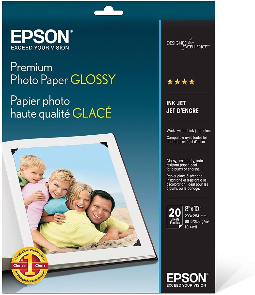 Epson Premium Photo Paper GLOSSY (8x10 Inches, 20 Sheets) (S041465),White