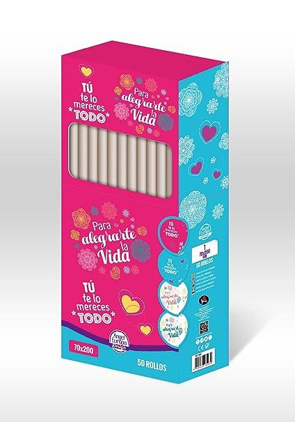 Pack 50 Rollos Papel De Regalo Frases 70x200cm Amazones