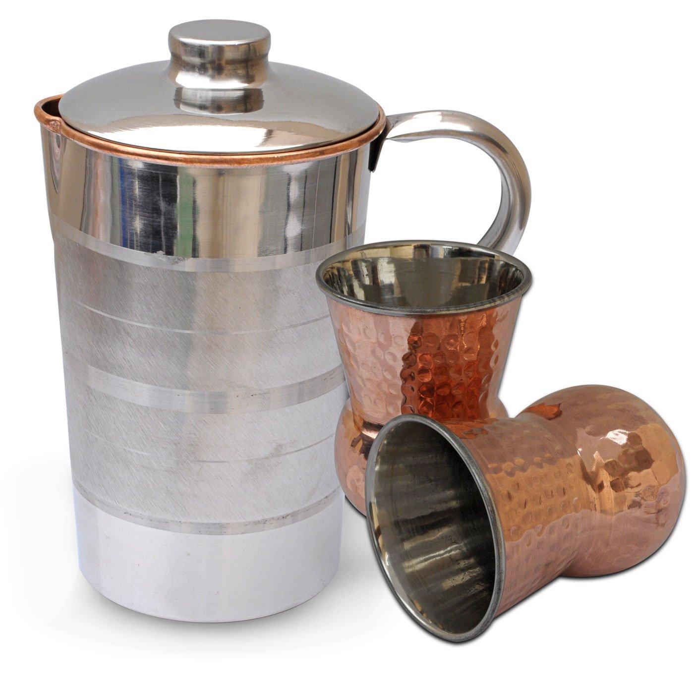 GOAL Set Krug mit 2 Trinkgläser Stahl Kupfer Küchenutensilien aus ...