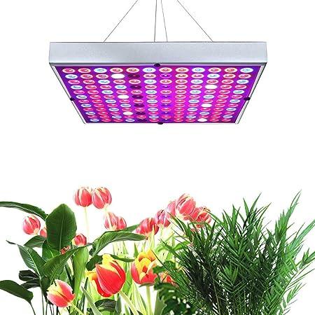 New Juhefa LED Grow Lights 25W Silver Full Spectrum plants Panel Lamp IR UV LED