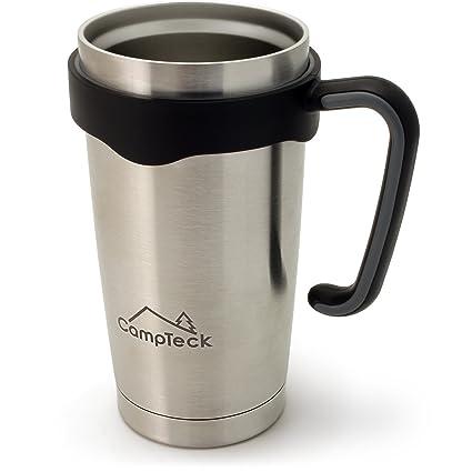 CampTeck 600ml Vaso Térmico de Viaje Doble Pared de Acero Inoxidable Termo Copa de Beber para Bebidas Frías y Calientes – Plateado