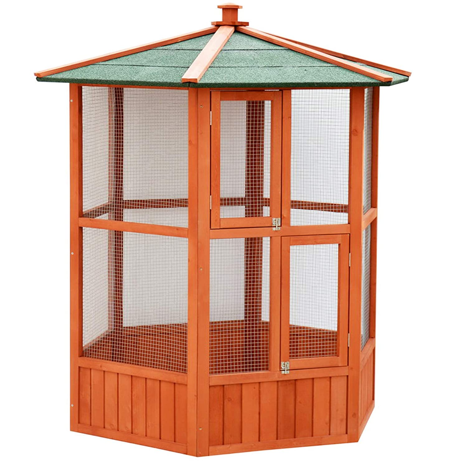 KCT Brazil Outdoor Hexagonal Bird Aviary with Durable Asphalt Roof
