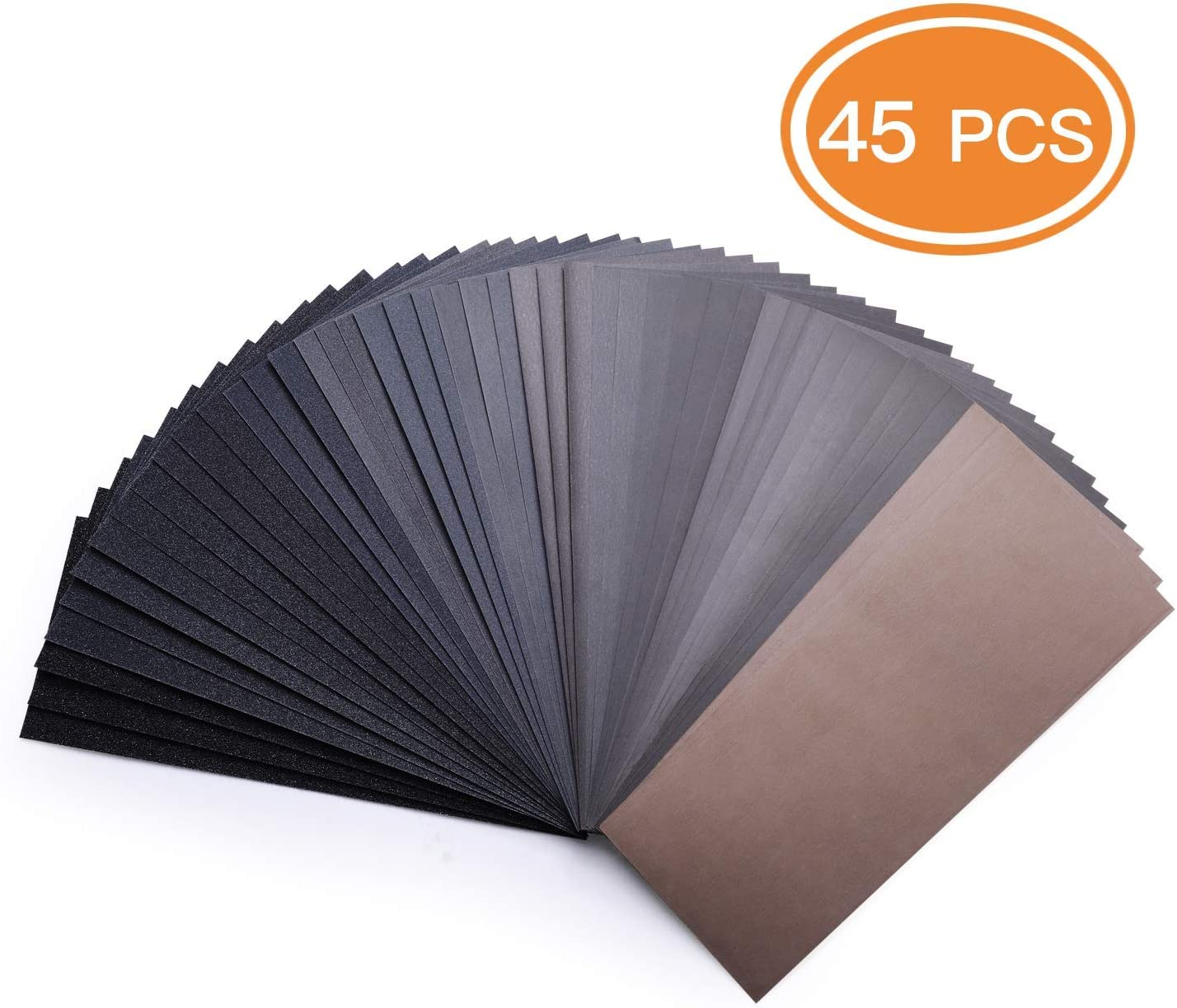 45-Piece 80 To 3000 Grit Wet Dry Sandpaper 9 x 3.6 Inches for Wet or Dry Sanding, Metal Sanding and Automotive Polishing Wood Furniture Finishing - ASD07C 71wI4t82pCL