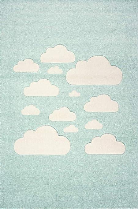 100 x 150 cm Livone Tapis pour Chambre denfant Motif Nuage et /étoiles Blanc Menthe Menthe