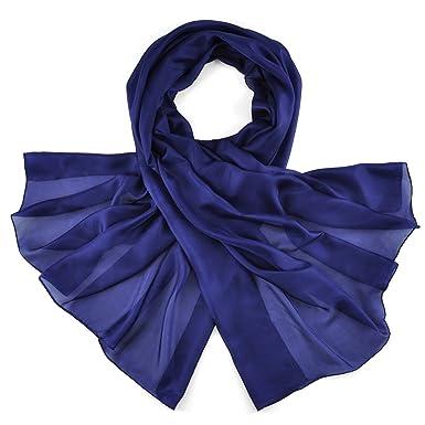 Allée du foulard Etole soie bleu marine  Amazon.fr  Vêtements et ... 0dc2e7a60f5