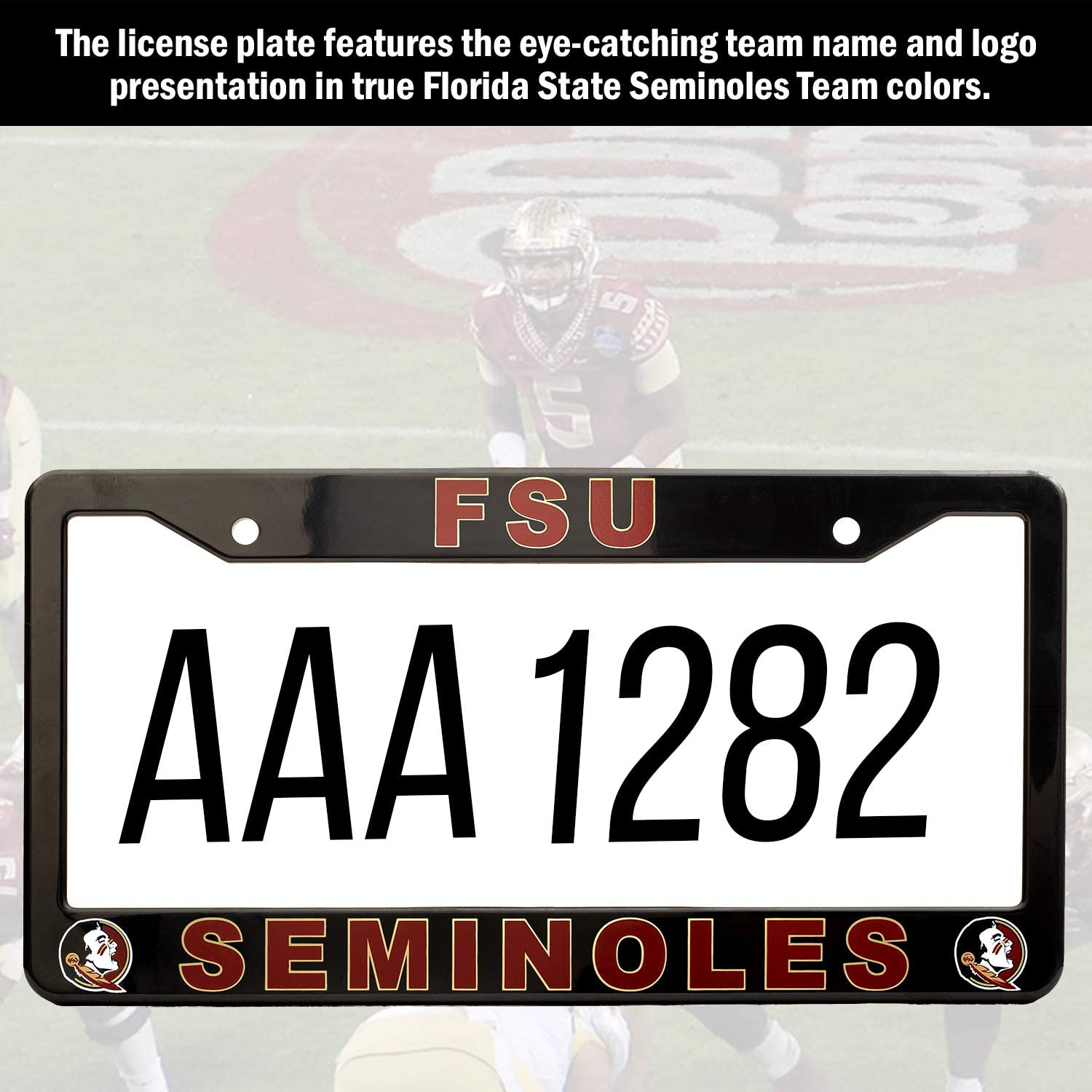 """NCAA Car Accessory Black Ideal Gift for Sports Fans /& Supporters EliteAuto3K Florida State Seminoles License Plate Frame Cover Slim Design 12.25/"""" x 6.25/"""""""