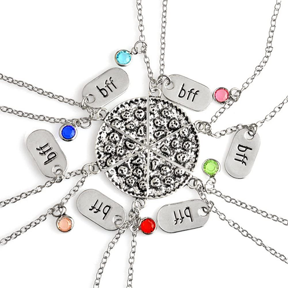 Amazon Com Best Friend Pizza Pendant Necklace With Crystal Charm Bff Friendship Necklace Set For Friends Gift Unisex Clothing