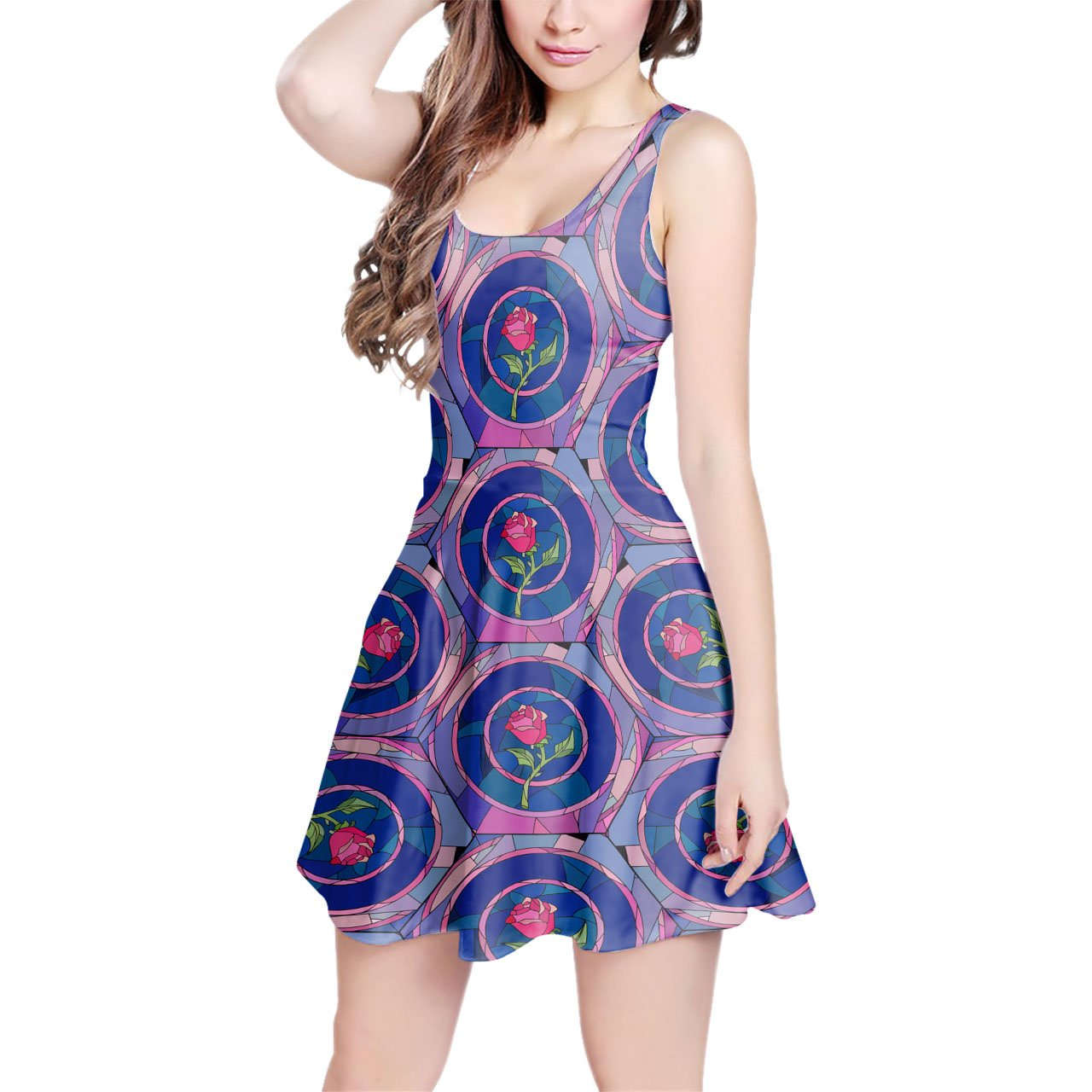 Stained Glass Rose Disney Inspired Sleeveless Flared Skater Dress