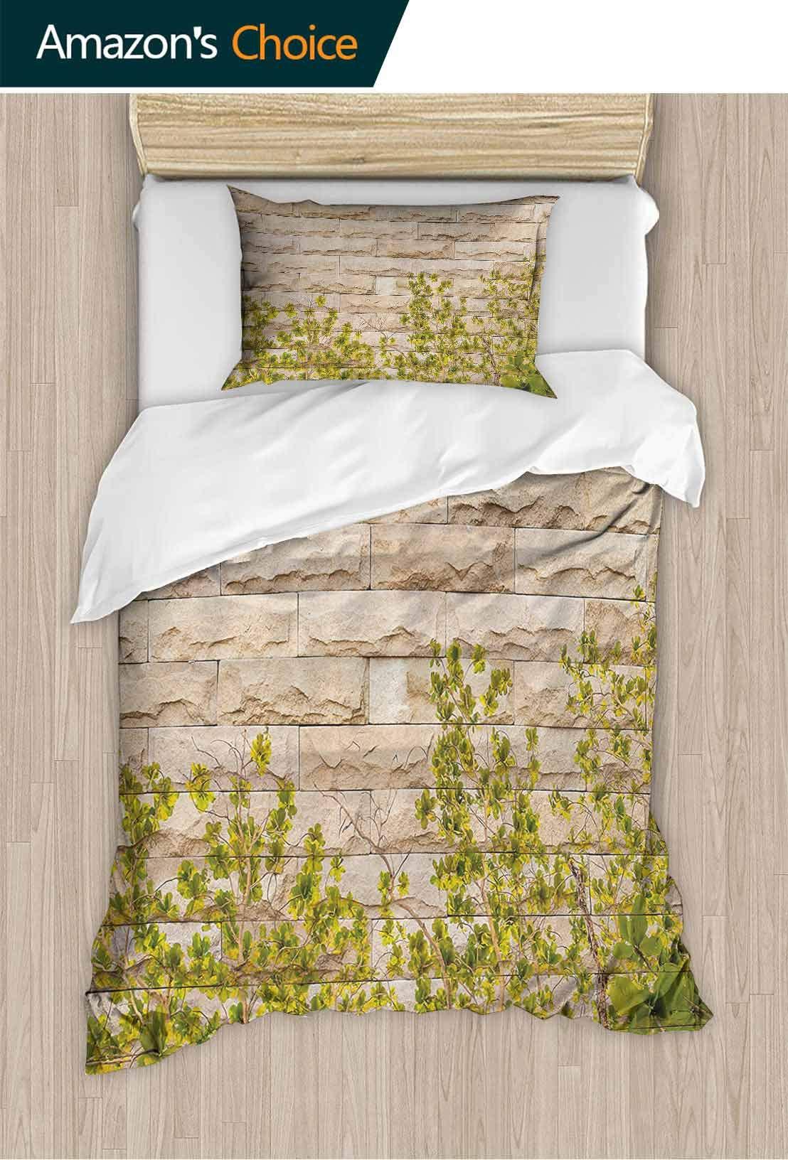 PRUNUSHOME Bed Sheet Set Super Soft Polyester Ground Creepy Climbing Wood Ivy Plant Leaf Brick Wall Nature Invasi Wrinkle Resistance Full