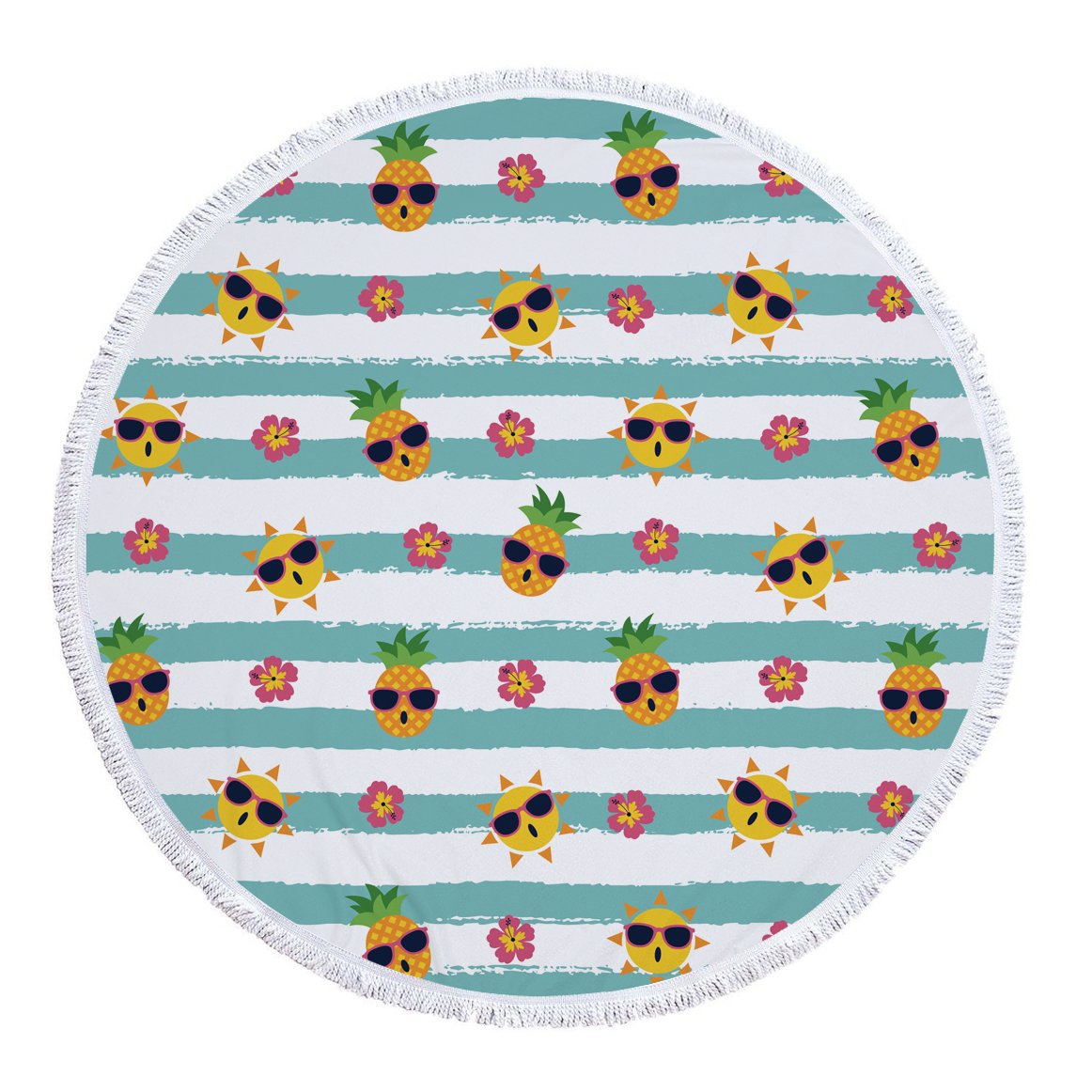 naturalshow Indian MandalaマイクロファイバーLarge Round Beach Blanket with Tassels超ソフトスーパー水吸収性多目的タオル59インチAcross 150*150 CM dm6030 B072BN5J9P 150*150 CM|Bohemian Blue Bohemian Blue 150*150 CM