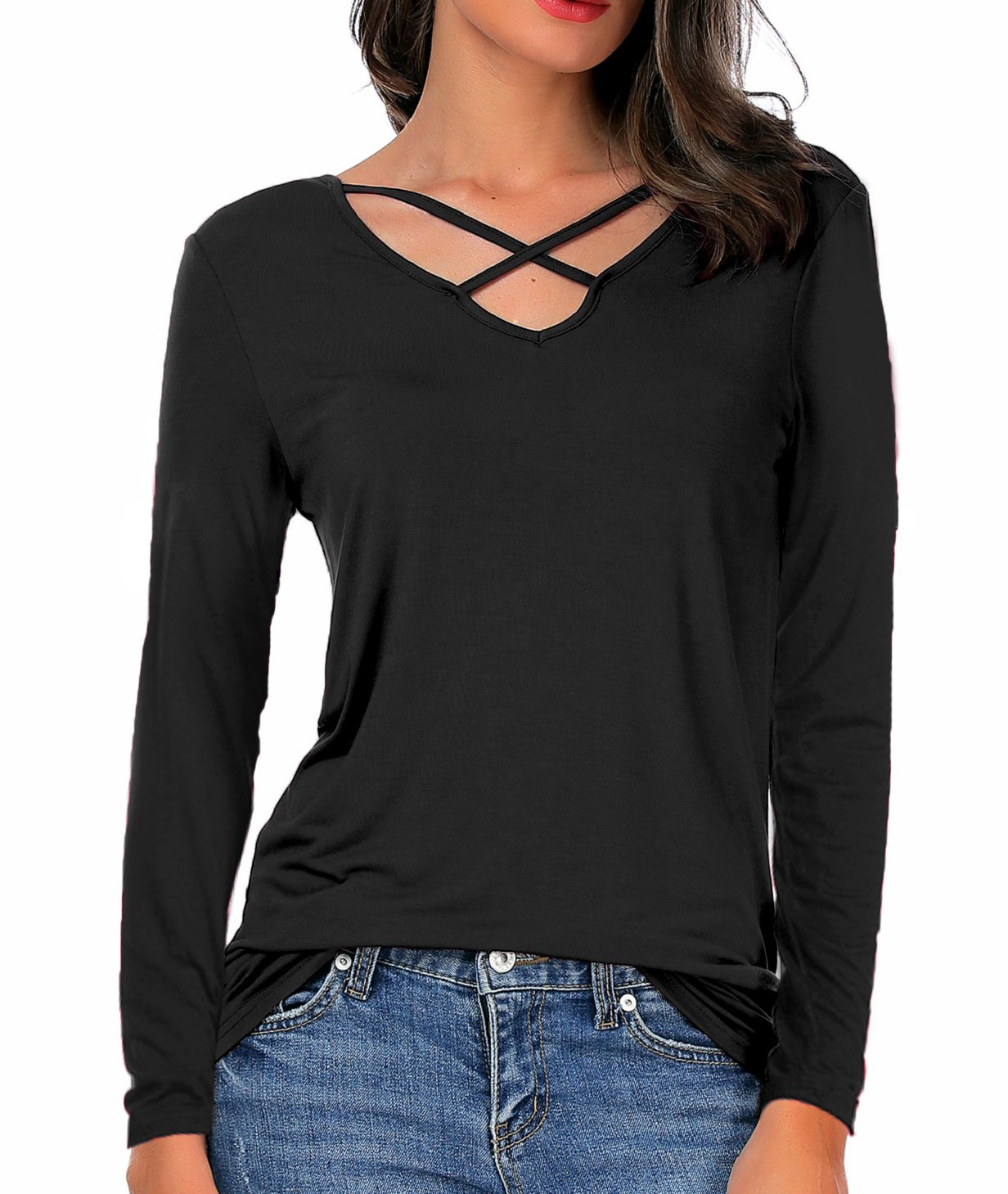 CPOKRTWSO Women Summer Tops Cross Front Deep V-Neck Long Sleeve Tees Top,Long-black,Large