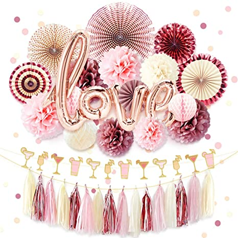 c6e7e570a2 NICROLANDEE Rose Gold Bridal Shower Decorations Pack Love Foil Balloon  Banner Maroon Hanging Party Fans Dusty