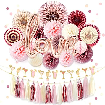 nicrolandee rose gold bridal shower decorations pack love foil balloon banner maroon hanging party fans dusty