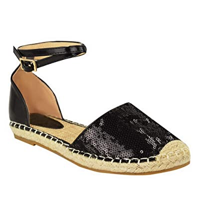 e0ba755cb301 Womens Ladies Espadrilles Flat Low Heel Ankle Strap Sandals Holiday Shoes  Size  Black Sequin Black Hi Shine UK 3   EU 36   US 5   Amazon.co.uk  Shoes    Bags