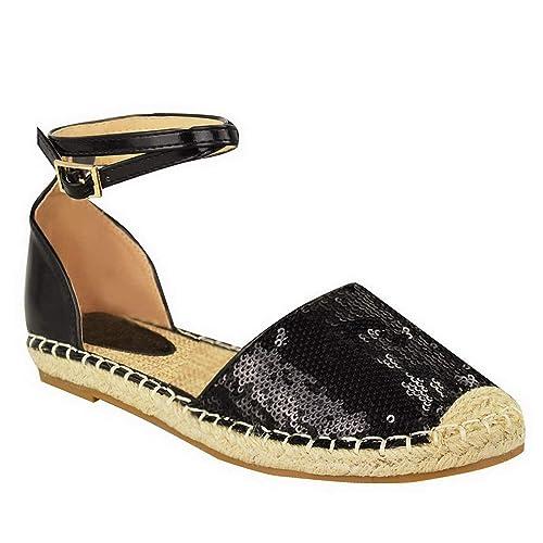 Mujer Nuevo Brillante Lentejuelas Alpargatas Tacón Bajo Plano Tira en Tobillo Verano Yute Sandalias Vacaciones Tamaño DE Zapatos Ojotas - Negro ...