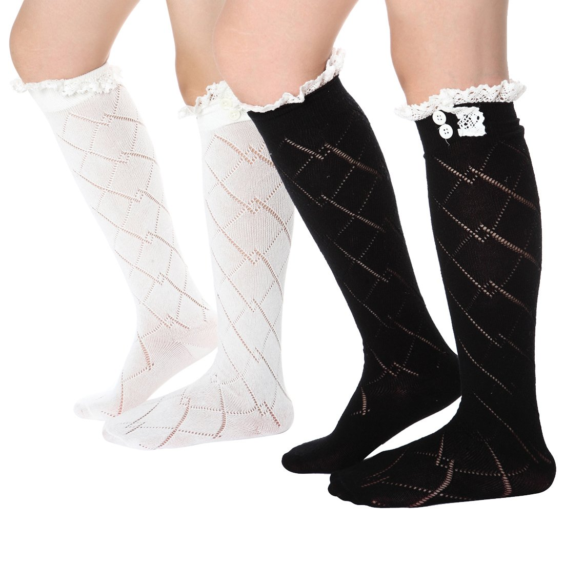 FAYBOX Women Lace Boot Socks Trim Leg Warmers Button Cuffs Toppers WHT BLK