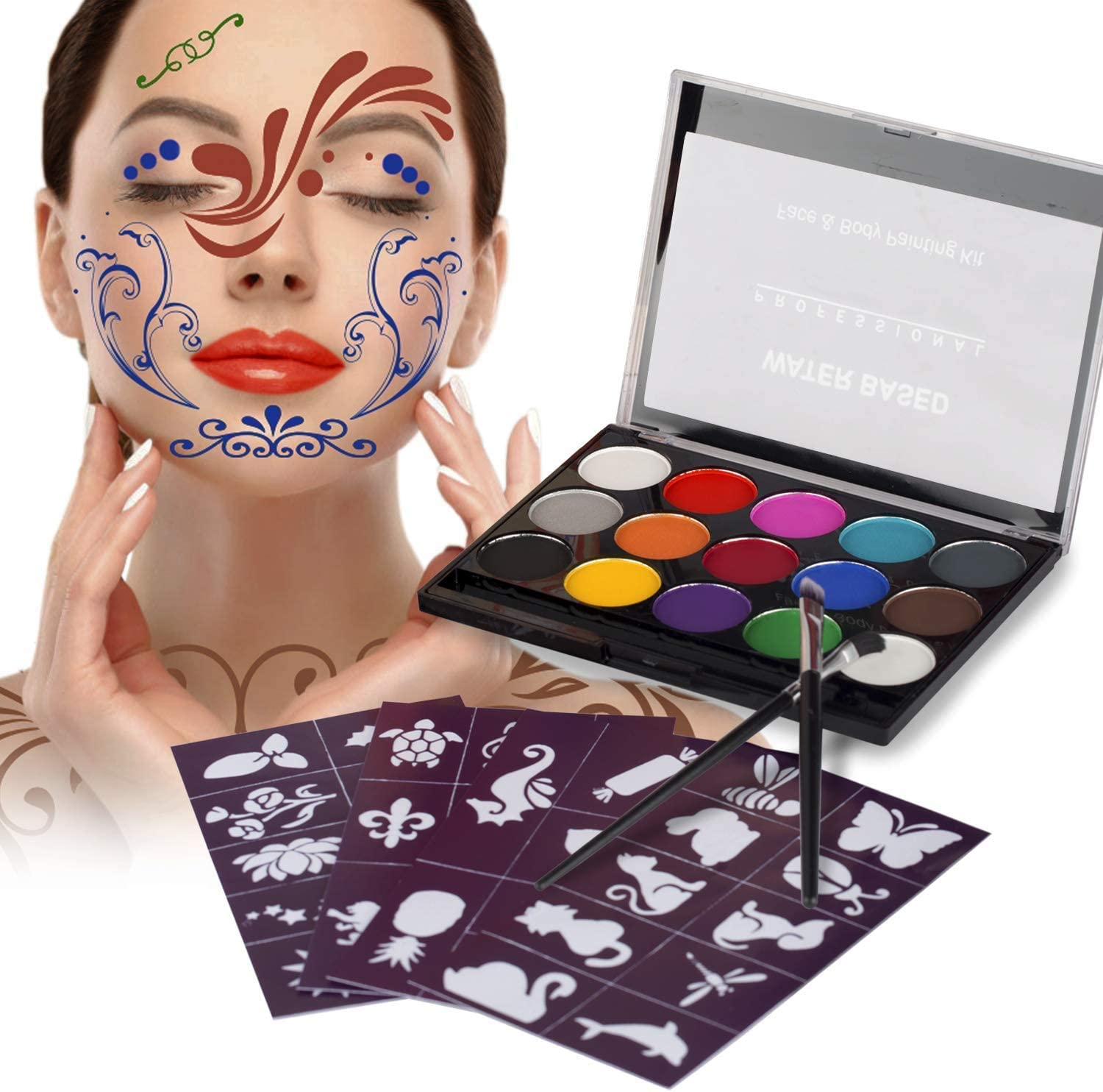 XPASSION Kit de Pintura Facial. Set de Maquillaje, Pinturas Corporales, Pintura Cara Professional Juego con 1 brocha 15 Colores para niños Fiestas Body Painting de Halloween Make Up