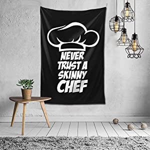 HGFJF Never Trust A Skinny Chef 1 Tapestry 60 X 40 Inch 100% Polyester Wall Hanging Bedding Tapestries Home Decor Mural