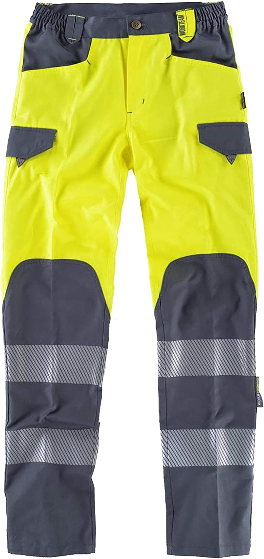 WorkTeam Pantalón de Alta Visibilidad, Multibolsillos, Combinado con Cintas Reflectantes Discontinuas y Cintas Decorativas Personalizadas, Trabajo. Unisex