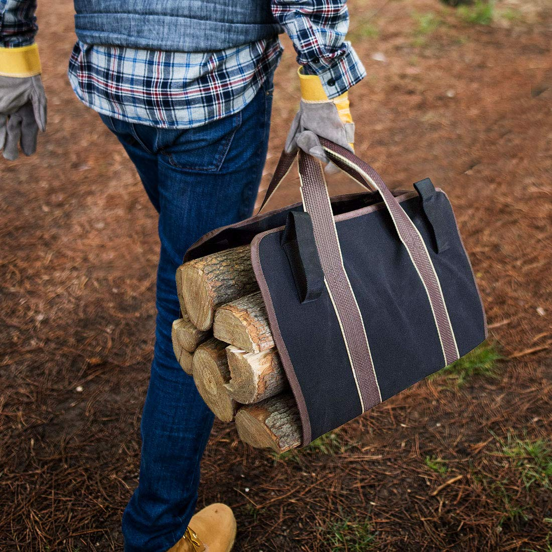 LingsFire Log Carrier Firewood Tote Wood Carrying Bag Fireplace 16oz Canvas Wood Tote Bag Extra Large Firewood Holder with Handles Fireplace Wood Stove Accessories for Camping Beaches (Black) by LingsFire (Image #5)