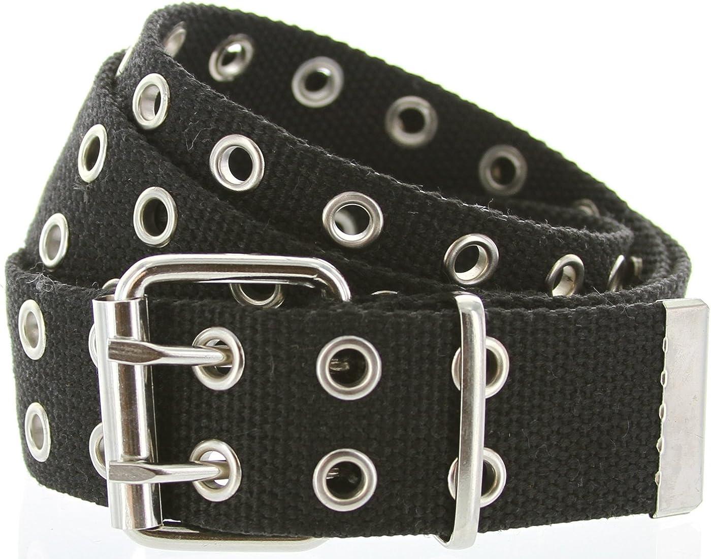 JASGOOD Double Grommet Belt Canvas Belt Double Hole Belt for Men Women Punk Rock Jeans Belt