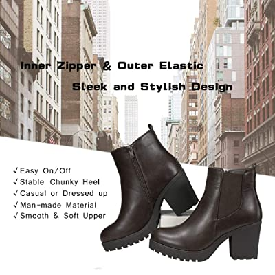 Details about  /New Women Mid Block Heel Shoes Zip Up Casual Ladies Chunky Ankle Chelsea Boots D