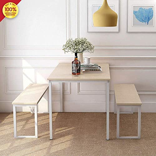 3 Pieces Set 2 Benches Kitchen Dining Room Furniture Modern Style Wood Table Top with Metal Frame, Oak
