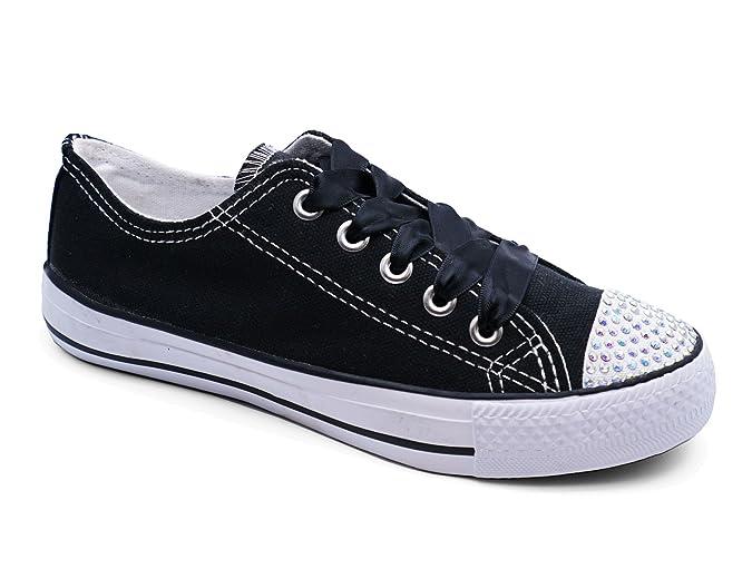 Girls Kids Childrens Black Canvas Diamante Lace-Up Plimsoll Pumps Shoes  Sizes 11-3: Amazon.co.uk: Shoes & Bags