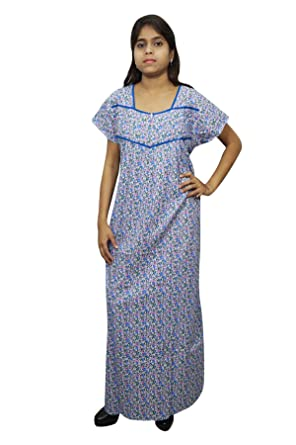 Indiatrendzs Women Nightdress Long Maxi Printed Nightgown (Blue)  Amazon.in   Clothing   Accessories ce7722e1d