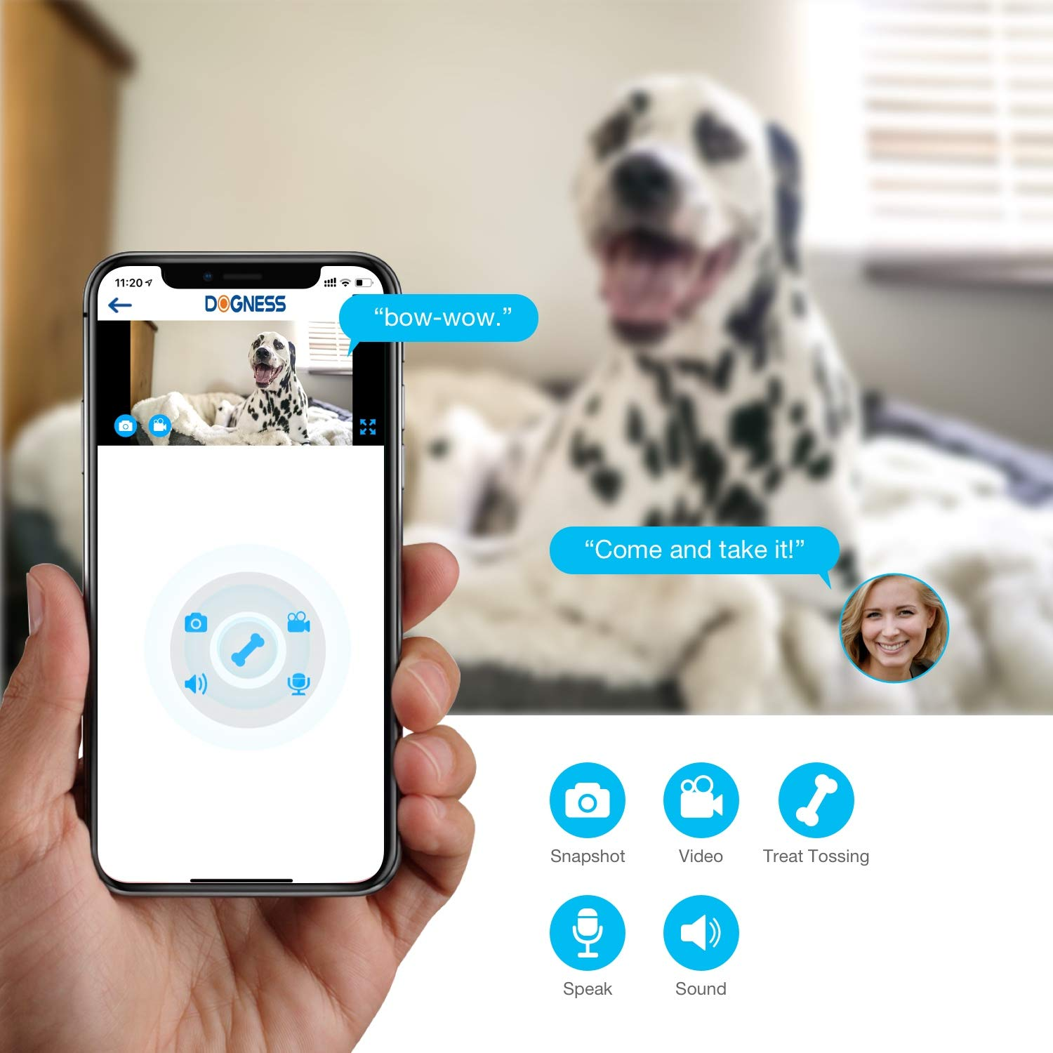 Vbroad Smart Pet Camera Treat Dispenser, WiFi Remote Camera Monitor 720P HD Night Vision Video with 2-Way Audio Designed for Dogs and Cats, Home Safety Pet Monitor (Android/iOS) by Vbroad (Image #3)