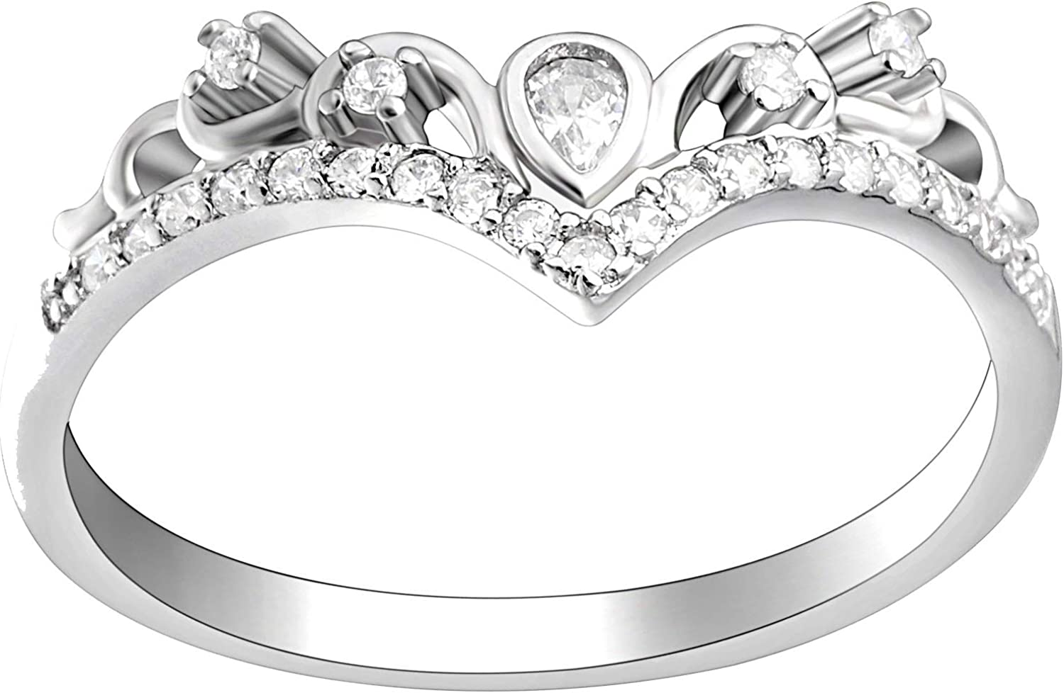 Tori Anniversary Band Wedding Ring for Women Enchancer Bridal Jewelry by Ginger Lyne Cubic Zirconia Sterling Silver Promise Engagement